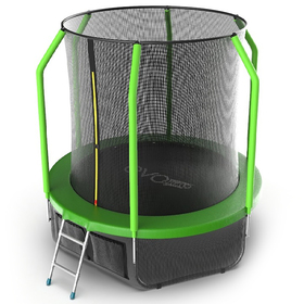 Батут EVO JUMP Cosmo 6 ft, d=183 см, с внутренней сеткой, нижней сеткой и лестницей, зелёный