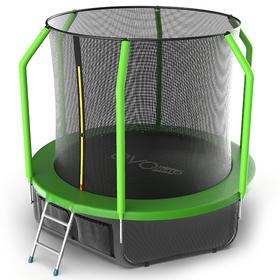 Батут EVO JUMP Cosmo 8 ft, d=244 см, с внутренней защитной сеткой и лестницей + нижняя сеть, зелёный