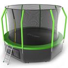 Батут с внутренней сеткой и лестницей EVO JUMP Cosmo, диаметр 12ft (зеленый) + нижняя сеть