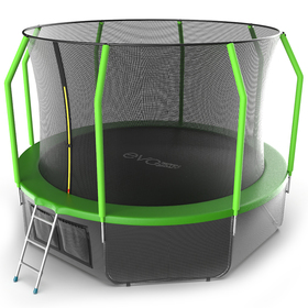 Батут EVO JUMP Cosmo 12 ft, d=366 см, с внутренней защитной сеткой и лестницей + нижняя сеть, зелёный
