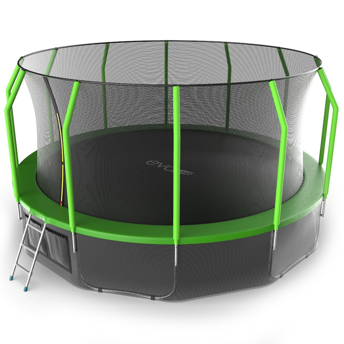 Батут с внутренней сеткой и лестницей EVO JUMP Cosmo, диаметр 16ft (зеленый) + нижняя сеть