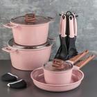 """Набор посуды """"Пинк"""", 4 предмета: кастрюли 8/6 л, сковорода 30х4,5 см, ковш 2 л 18х9,5 см, набор приборов 6 шт"""