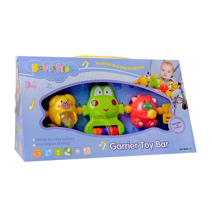 Растяжка музыкальная на коляску/кроватку «Мишка, лягушка, коровка», 3 игрушки