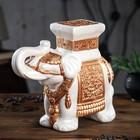 """Подставка декоративная """"Индийский слон"""", белый со стразами"""