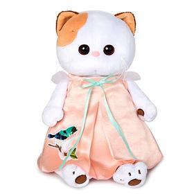 Мягкая игрушка «Кошечка Ли-Ли» в нежно-розовом платье с птичкой, 27 см