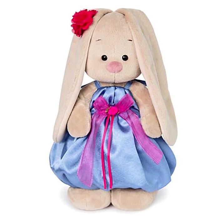 Мягкая игрушка «Зайка Ми» в синем платье с розовым бантиком, 23 см - фото 105613775