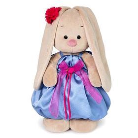 Мягкая игрушка «Зайка Ми» в синем платье с розовым бантиком, 18 см
