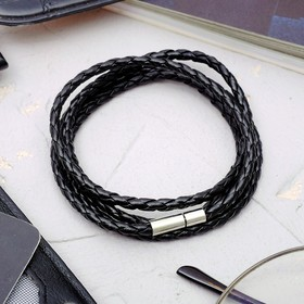 Браслет мужской 'Кожаное плетение', цвет чёрный, 82 см Ош