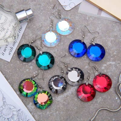 """Earrings made of glass """"Bright day"""" circle, MIX color"""