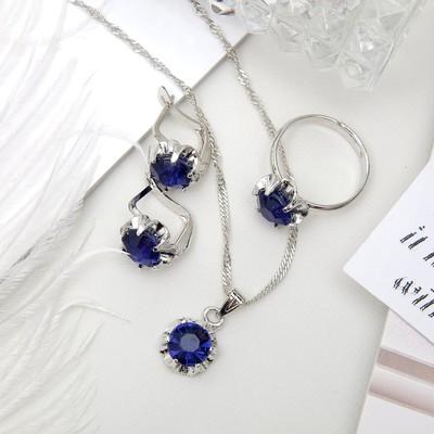 """Гарнитур 3 предмета: серьги, кулон, кольцо безразмерное """"Эдель"""" цветы, цвет синий в серебре"""