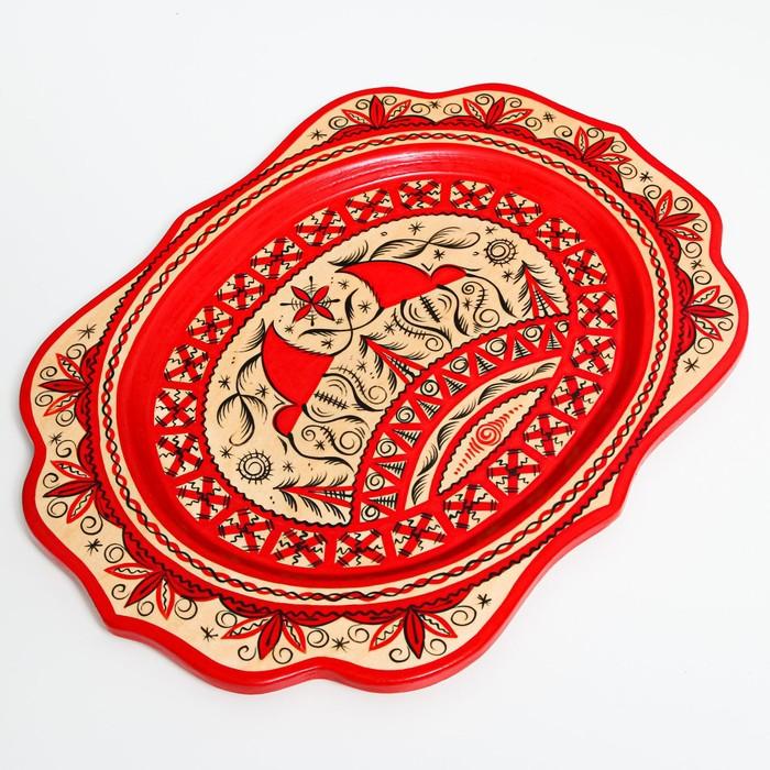 Поднос, малый, 29×21×1,5 см, мезенская роспись