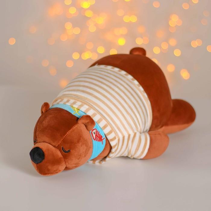 """Мягкая игрушка """"Бурый медведь"""" полосатая футболка  МИКС"""