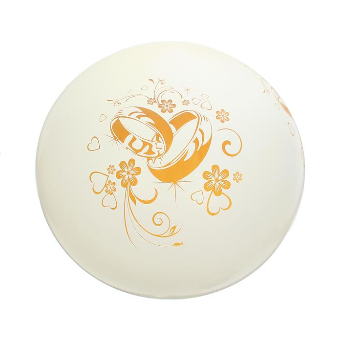 """Шар латексный 36"""" «Свадебные кольца», пастель, 3-сторонний, цвет белый - фото 308469399"""