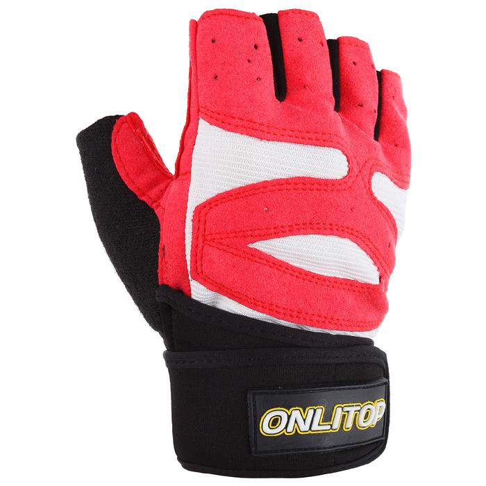 Перчатки спортивные, размер универсальный, цвет красный