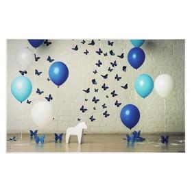 """Фотофон винил """"Праздничные воздушные шары и бабочки"""" стена+пол 80х125 см"""