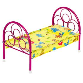 Кроватка для кукол, металлический каркас, МИКС