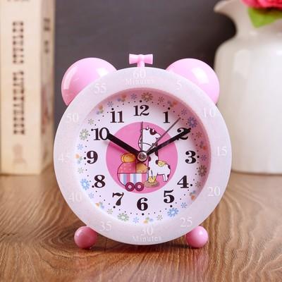 """Будильник """"Животные мультяшные"""", розовый, 14х12х5 см"""