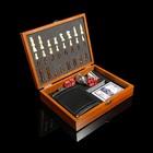 Набор 6в1: фляжка 8oz, рюмка, воронка, кубик 5шт 1.5см, карты, шахм(пешка1.6, король4.6)