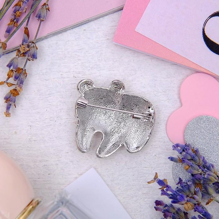 """Брошь """"Медвежонок"""" полярный, цвет белый в серебре - фото 301756361"""