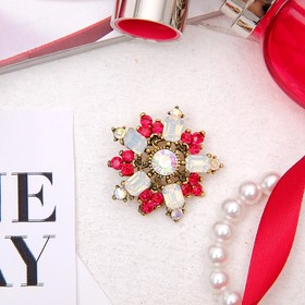"""Brooch """"Flower"""" color is red-white in blackened gold"""