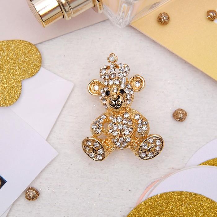 """Брошь """"Мишка"""" роял, цвет белый в золоте - фото 419628071"""