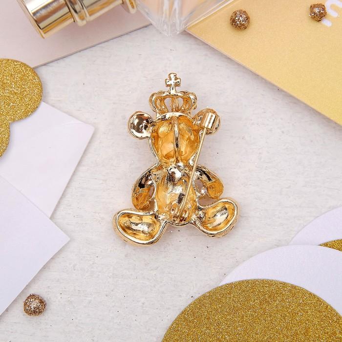 """Брошь """"Мишка"""" роял, цвет белый в золоте - фото 419628072"""