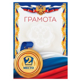 Грамота спортивная '2 место', серия 006, 21х29,5 см Ош