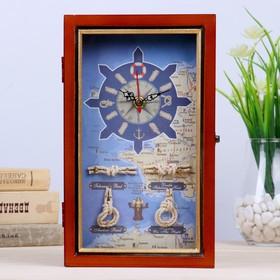 """Ключница дерево 4 крючка с часами """"Корабль, морские узлы и карта"""" золотая полоса 25х15х6см"""