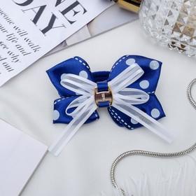 Резинка для волос бант 'Школьница' 7 см, белый горох, синий Ош