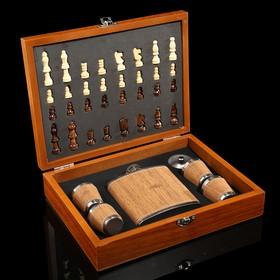 Набор 7 в 1: фляжка 8 oz, 4 рюмки, воронка, шахматы, 18 х 24 см