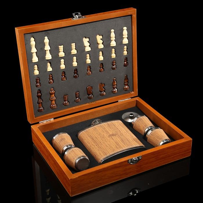 Набор 7 в1: фляжка 6 oz, 4 рюмки, воронка, шахматы (пешка 1.6 см, король 4.6 см),18х24см