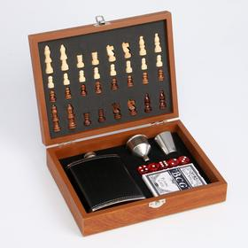 Набор 6 в1: фляжка 8 oz, рюмка, воронка, кубик 5 шт 1.5 см, карты, шахматы