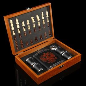 Набор 7 в1: фляжка 8 oz с Гербом, 4 рюмки, воронка, шахматы, 18х24 см