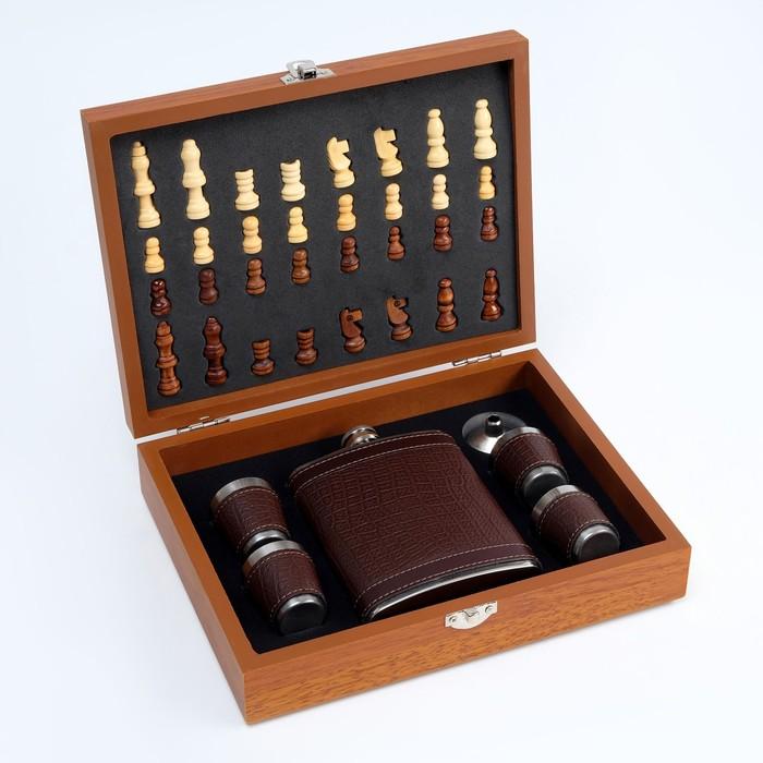 Набор 7 в1: фляжка 8 oz чешуя, 4 рюмки, воронка, шахматы (пешка 1.6 см, король 4.6 см), 18х24см 3470