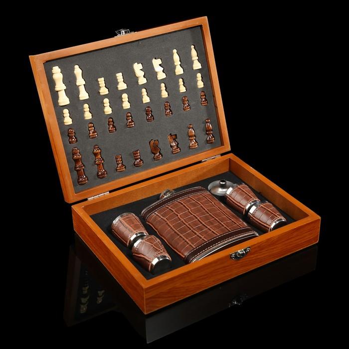 Набор 7 в1: фляжка 8 oz чёрный крокодил, 4 рюмки, воронка, шахматы (пешка1.6 см, король 4.6 см),18х2
