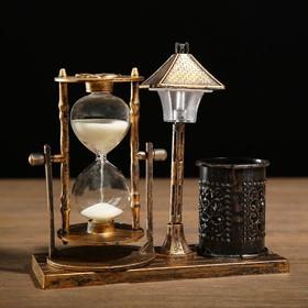 """Часы песочные """"Уличный фонарик"""" с подсветкой и карандашницей, 6.5х15.5х14.5 см, микс в Донецке"""