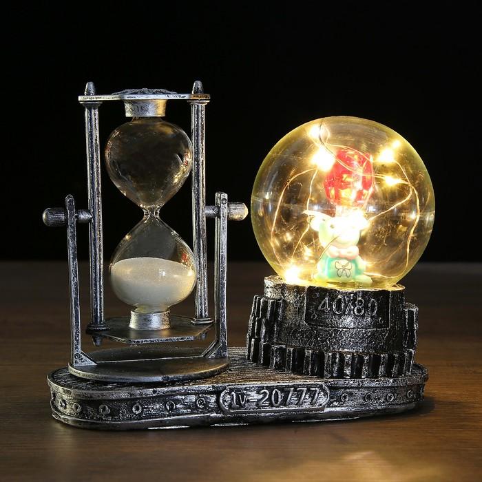Часы песочные на подставке, шар с подсветкой, внутри цветы, полистоун, микс, 15.5х8.5х14 см   348850