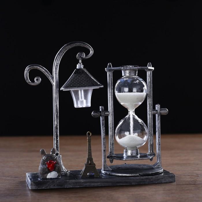 Часы песочные, фонарик с подсветкой, фигурка зверька, пластик,  микс, 15.5х6.5х15.5 см