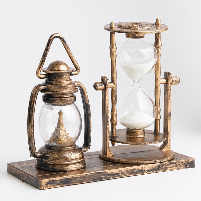 Часы песочные, декоративная керосиновая лампа с подсветкой, пластик, микс, 15.5х6.5х12.5 см   348850
