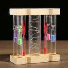 Часы песочные, 6 колб с песком+1 с подсветкой, дерево, пластик, микс, 11х5х13.5 см