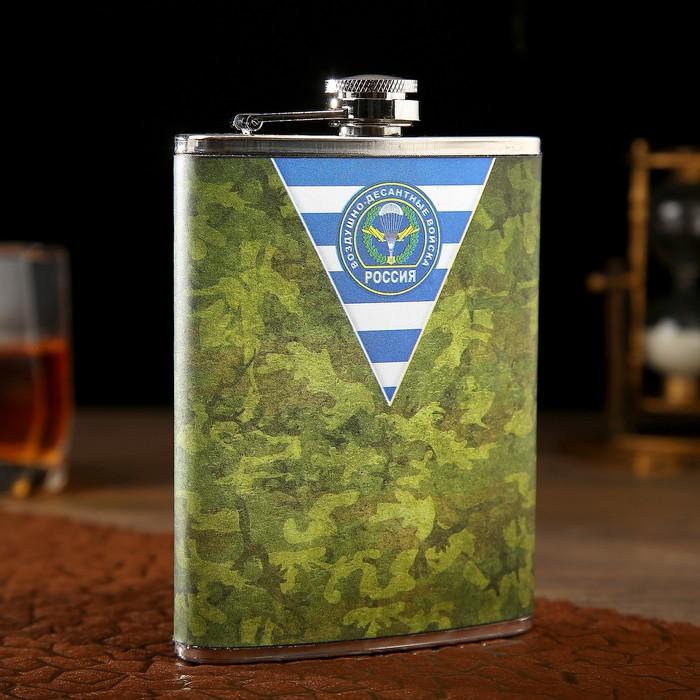 """Фляжка 240 мл """"ВДВ России"""", рисунок камуфляжный, зелёная, 9.5х2.5х13.5 см"""