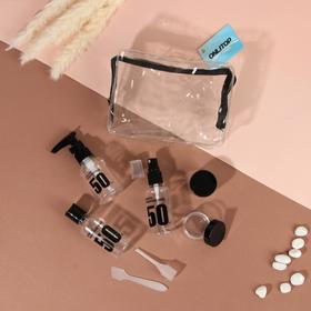 Набор для хранения, в чехле, 7 предметов, цвет прозрачный/чёрный