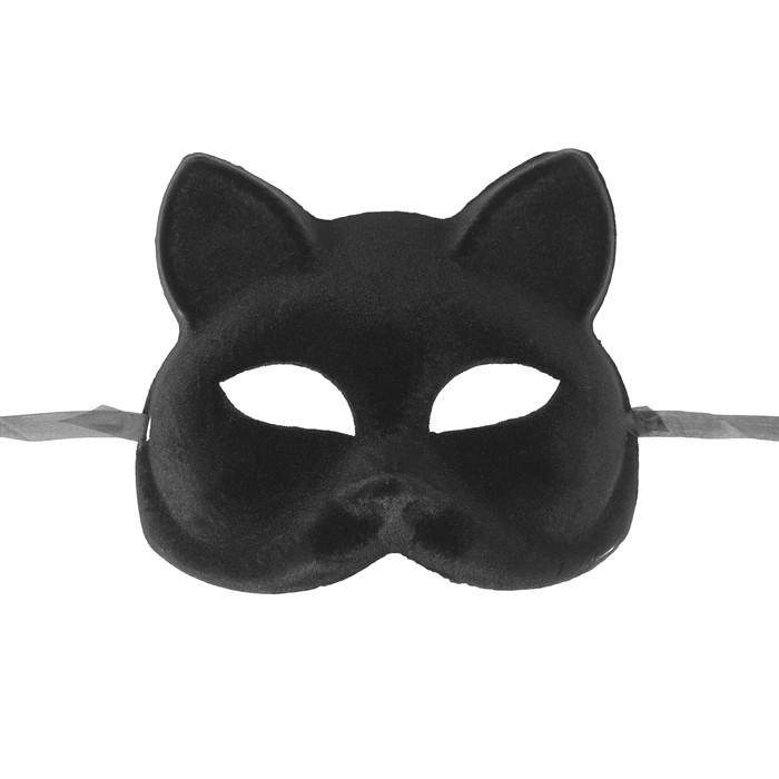 Карнавальная маска «Кошечка», цвет чёрный - фото 3797668