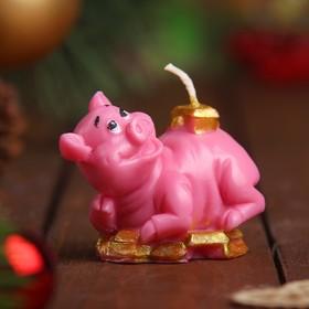 Свеча новогодняя 'Денежный поросёнок' розовая, 7х5см Ош