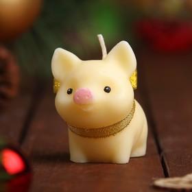 Свеча новогодняя 'Поросёнок' молочная, 6,3х6см Ош
