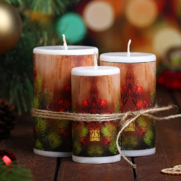 """Набор свечей """"Новогодняя ягода"""", 3 штуки в упаковке"""