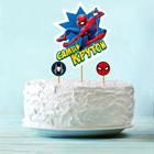 """Украшение для торта """"Самый крутой"""" Человек-паук (набор топпер+ 4 шпажки)"""