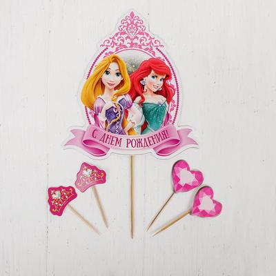 """Топпер в торт """"С Днем Рождения"""" Принцессы, с набором шпажек, 4 шт."""