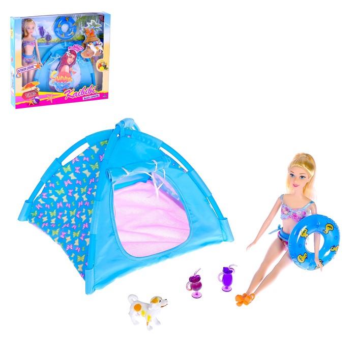 Кукла модель «Оля на пляже» с палаткой, с кругом, с аксессуарами