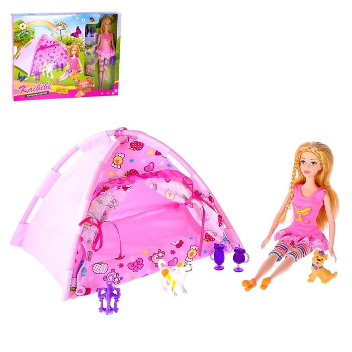 Кукла модель «Тоня» с палаткой на природе, с аксессуарами